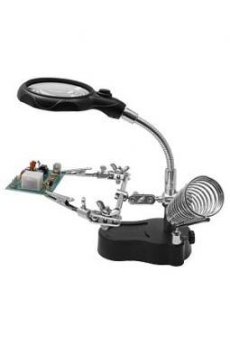Extra Hand mit LED-Licht + Lupe (Helpi..